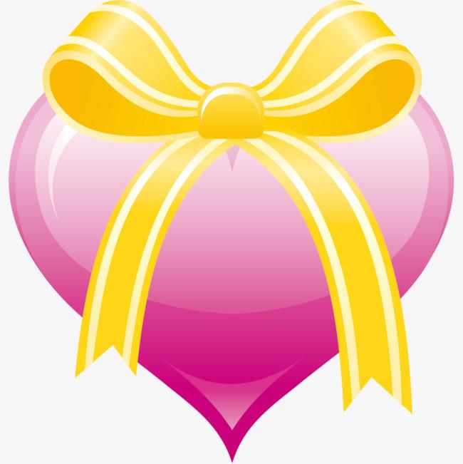 卡通手绘粉色蝴蝶结爱心png素材-90设计