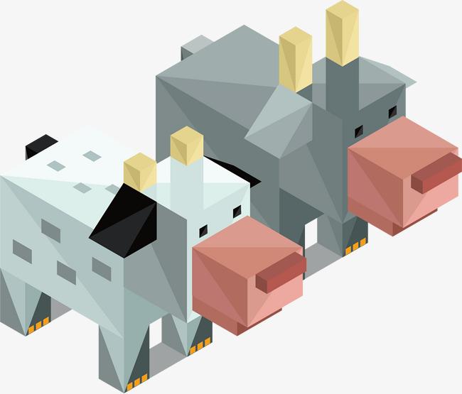 矢量手绘方块动物png素材-90设计