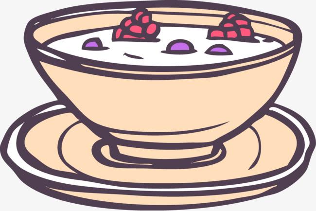 卡通手绘线条水果酸奶