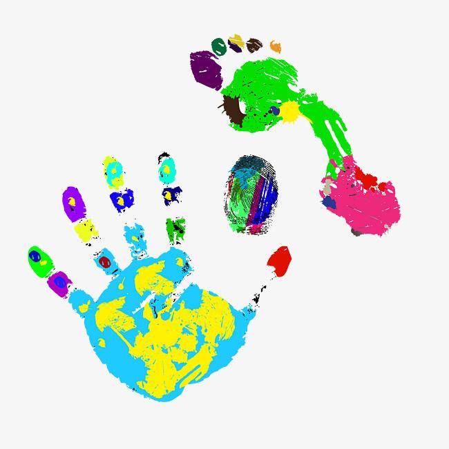 彩色炫酷手印脚印元素图片
