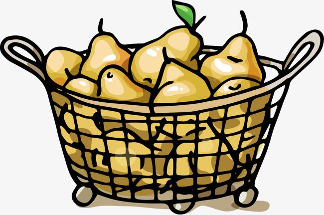 手绘线条一筐水果梨子
