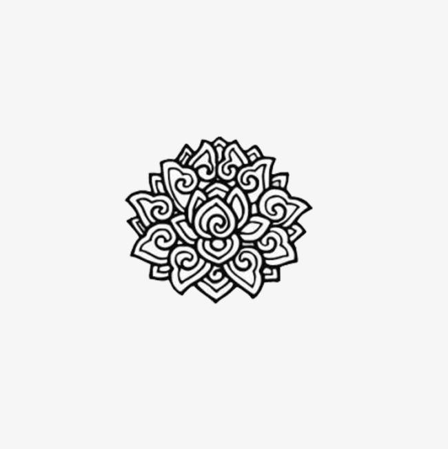 藏族手绘黑白稿民族装饰纹样