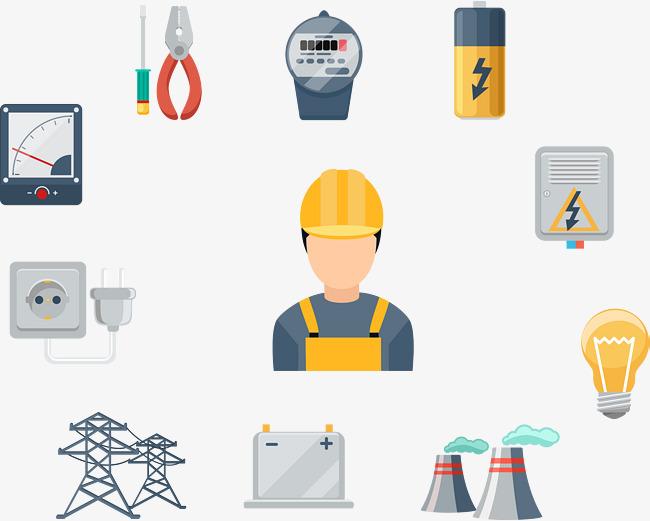 扁平化电力工人及工具设备图片