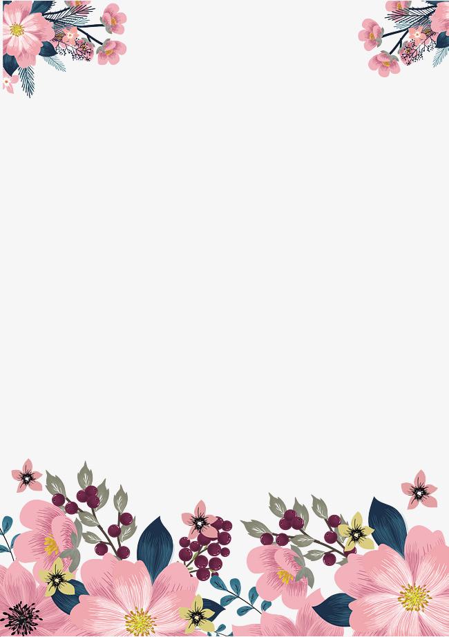 手繪粉色花朵邊框