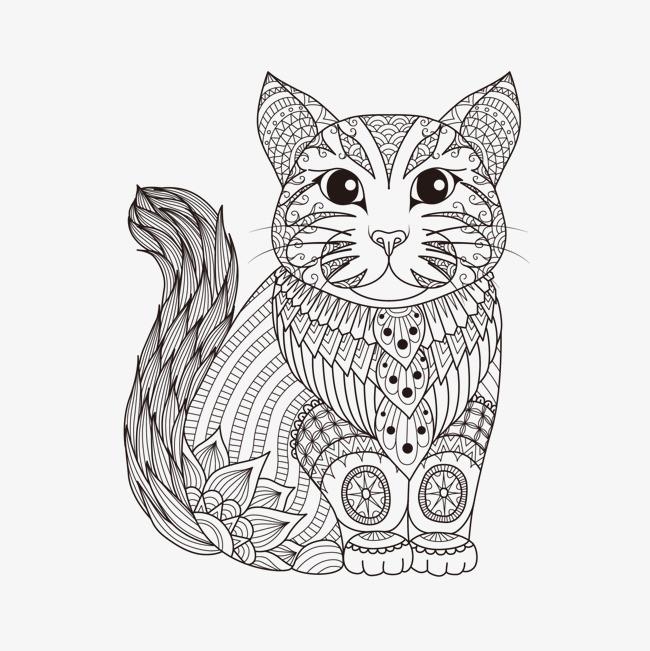 矢量手绘花纹动物