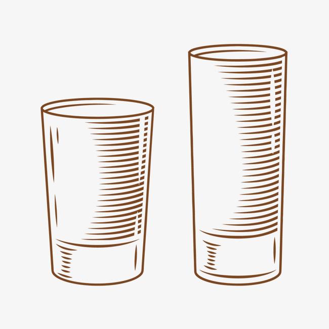 手绘简单的杯子矢量免抠素材水杯手绘玻璃杯杯子矢量免抠素材-手绘