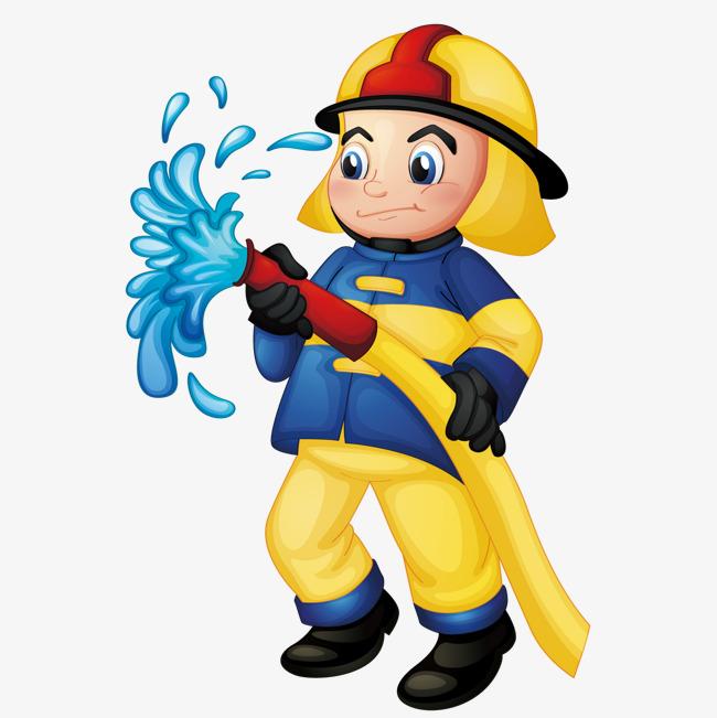 90设计提供高清png手绘动漫素材免费下载,本次拿着水管的消防员作品为