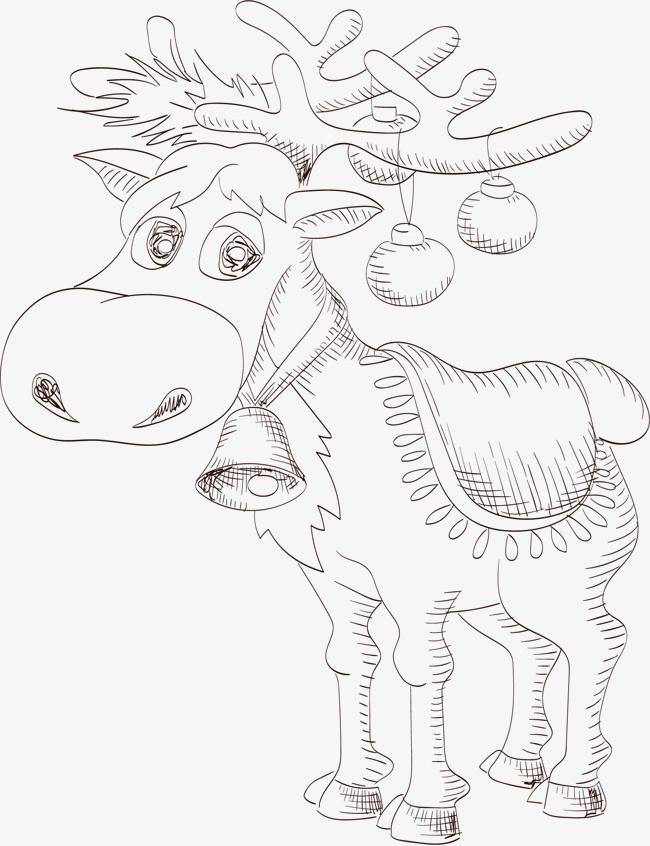 90设计提供高清png手绘动漫素材免费下载,本次矢量手绘素描麋鹿作品为
