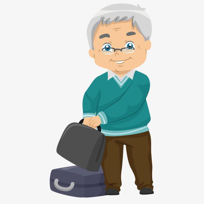 提行李箱的老年人