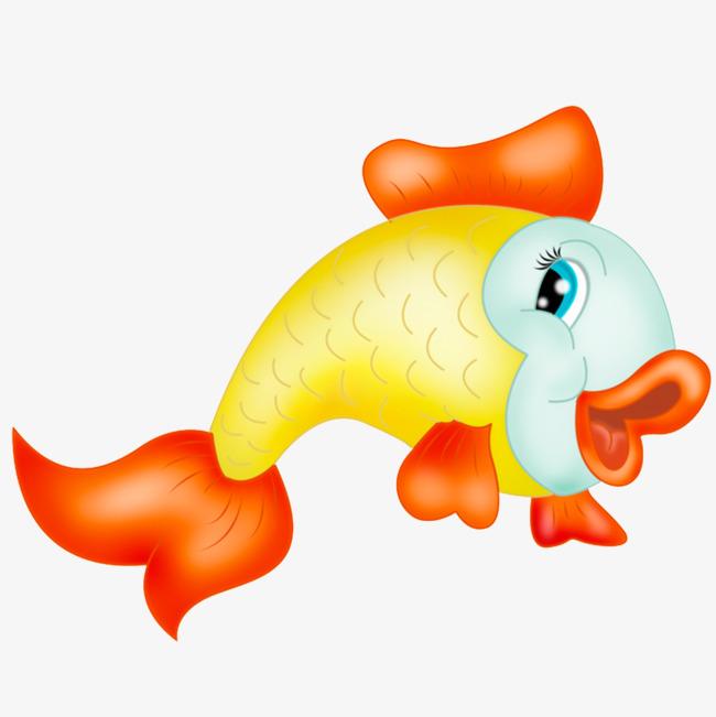 卡通手绘黄色金鱼