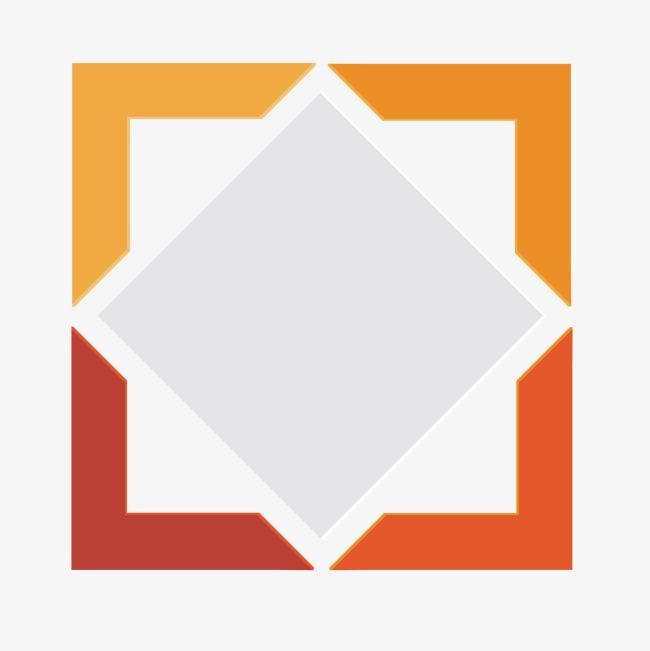 矢量手绘彩色边框正方形图标