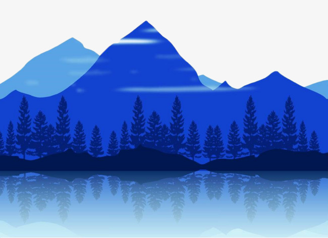 蓝色 水面 倒影 树 山 地貌 简笔画 手绘 简笔山             此素材