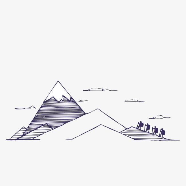 手绘几何线条山【高清装饰元素png素材】-90设计
