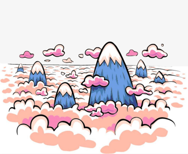 手绘云层里的山