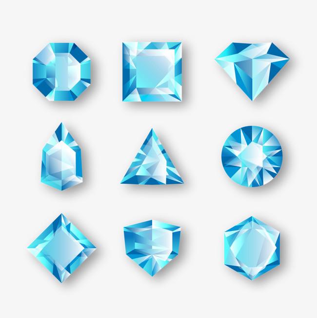 矢量蓝钻石png素材-90设计