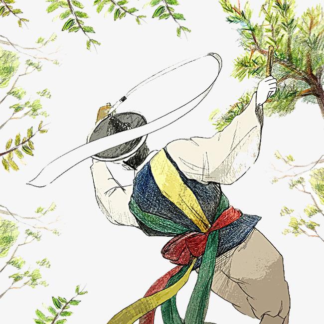 手绘彩铅少数民族绿树