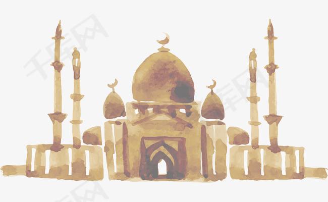 手绘印度泰姬陵素材图片免费下载 高清psd 千库网 图片编号7865782