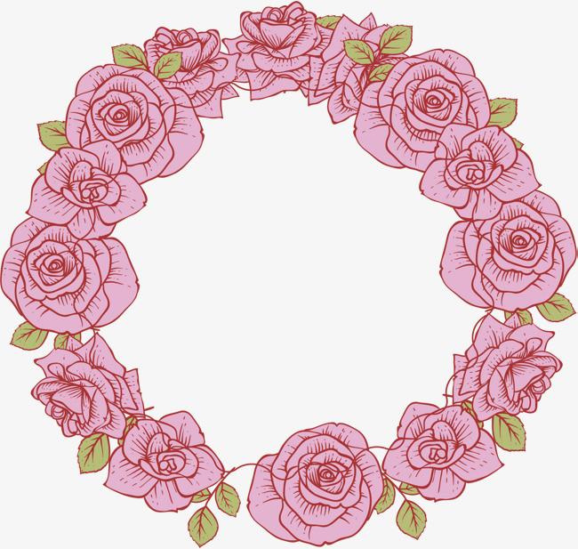 手绘粉玫瑰花环