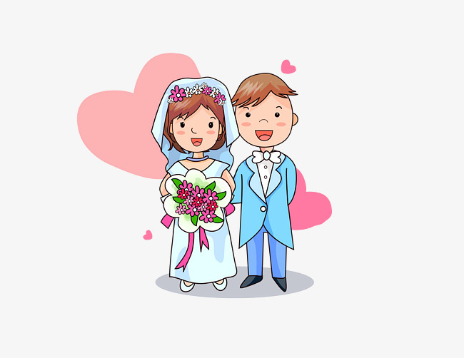 婚礼新人卡通人物