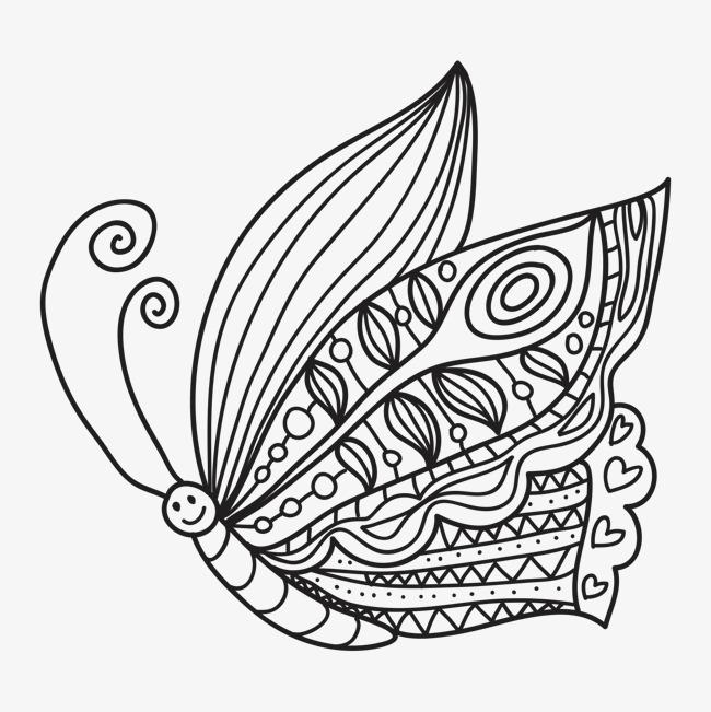 手绘卡通花纹蝴蝶