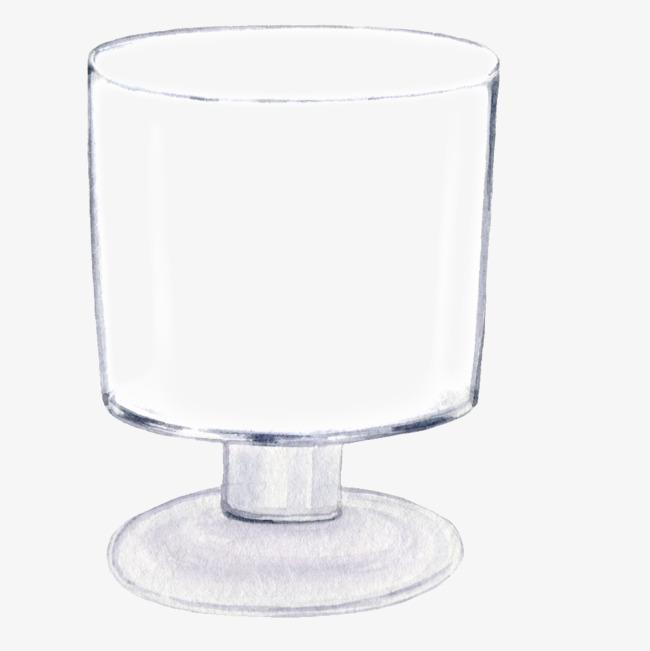 手绘线条素描玻璃杯