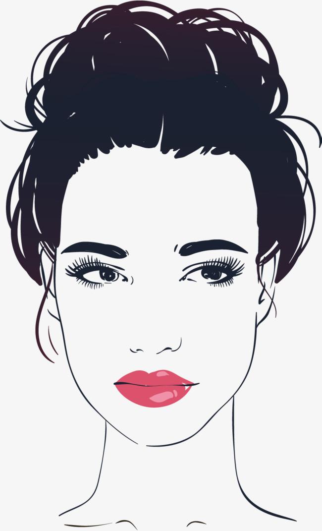 手绘女性头像【高清效果元素png素材】-90设计