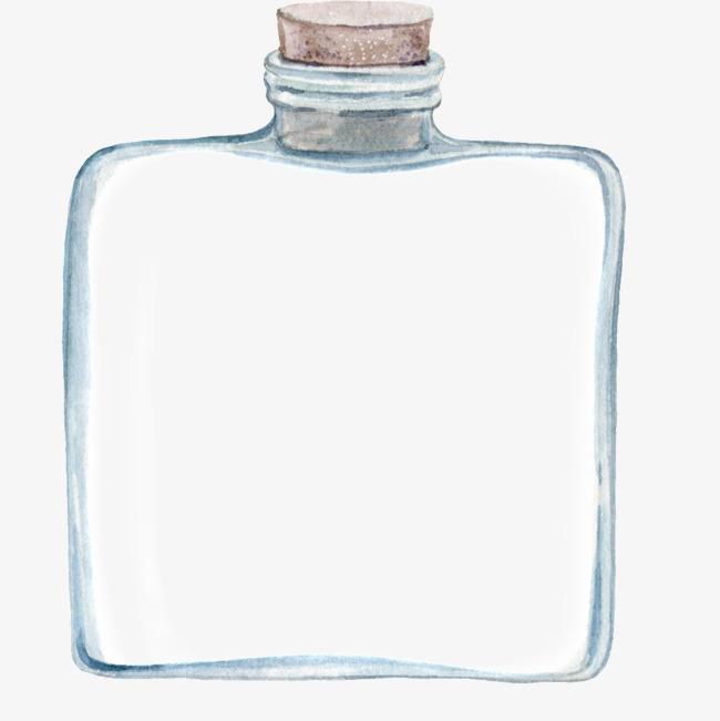 手绘水彩玻璃瓶子