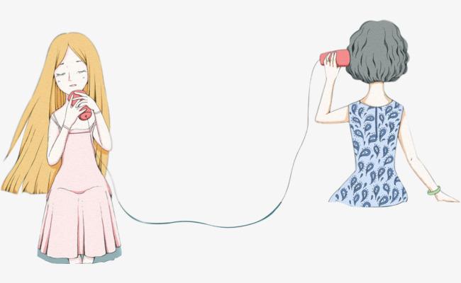 可爱手绘土电话插画母女场景png素材-90设计