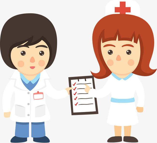 卡通人物护士向医生汇报工作图片