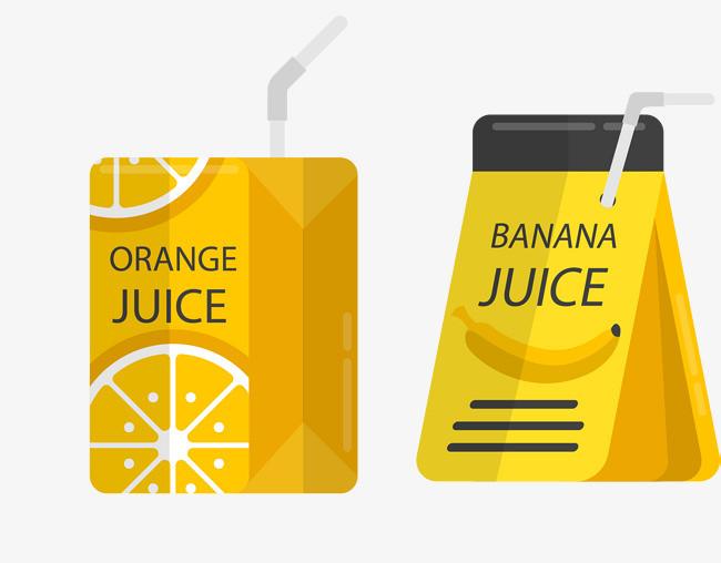 矢量手绘黄色饮料包装【高清png素材】-90设计图片