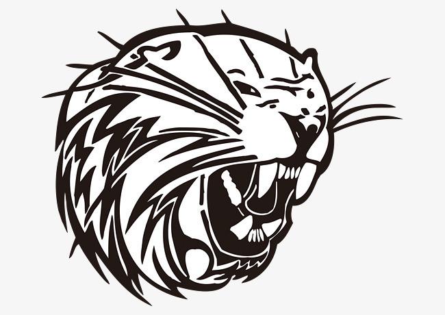 黑色线条动物头像老虎