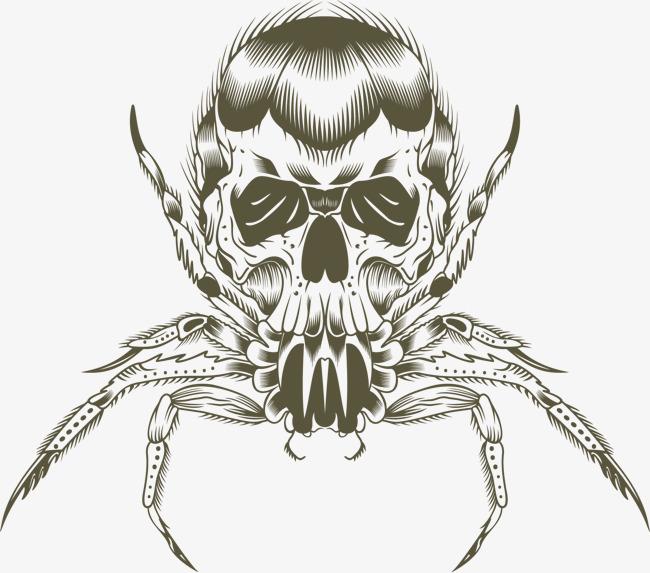 手绘艺术毒蜘蛛创意图形