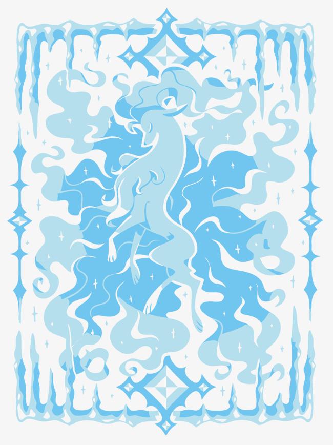矢量蓝色火焰马png素材-90设计