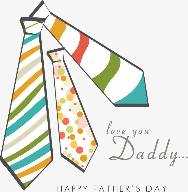 手绘领带父亲节主题海报矢量图