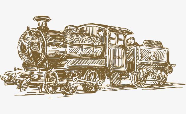 手绘老式火车