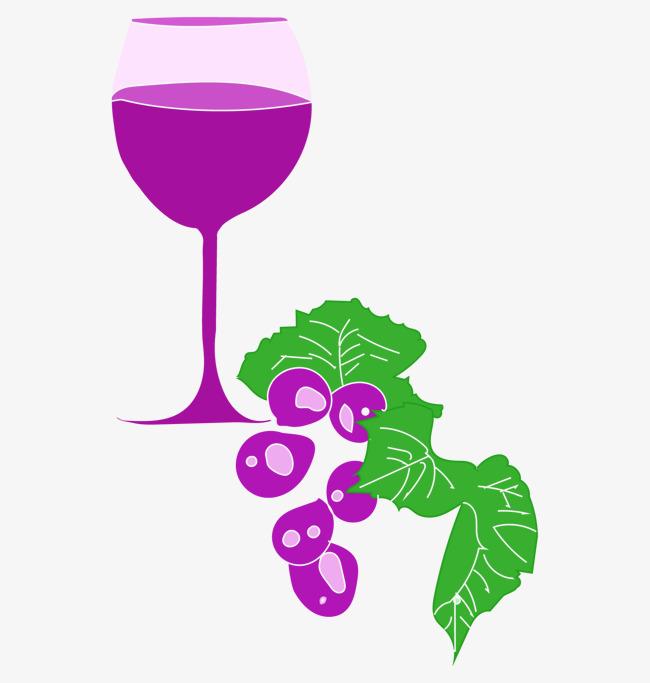 手绘卡通紫色葡萄酒葡萄葡萄藤