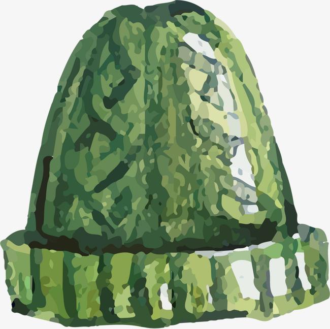 手绘水彩绿色条纹帽子