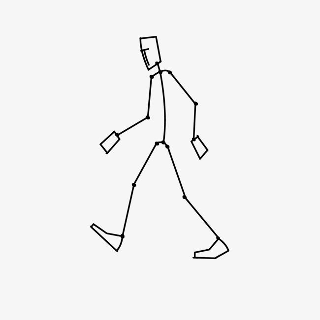 正在走路的火柴人