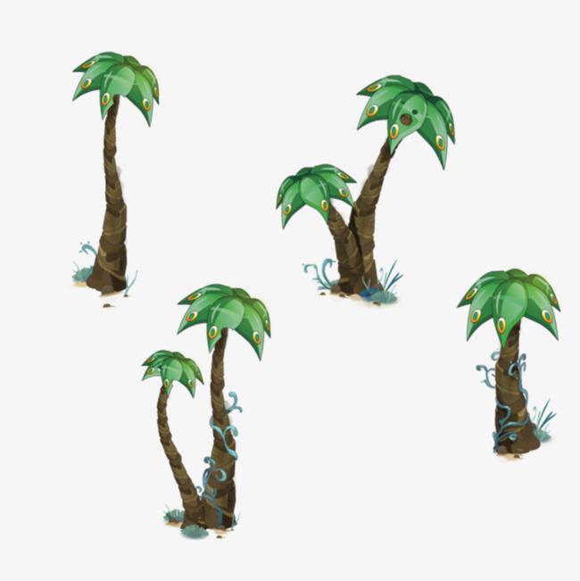 手绘卡通椰子树【高清png素材】-90设计