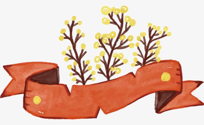 手绘水彩飘带标题框