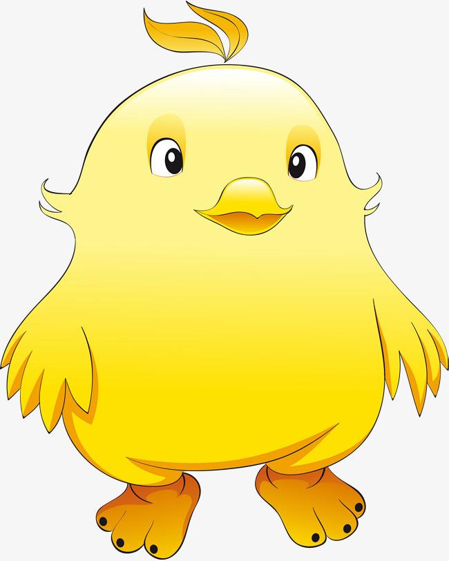 卡通黄色圆胖小鸡仔矢量图图片