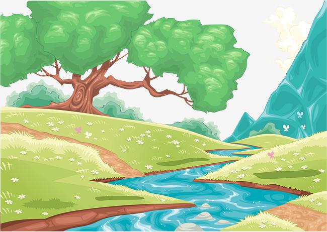 森林中的小溪草坡风景矢量图