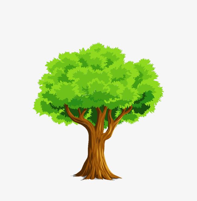 卡通绿色大树植物清新