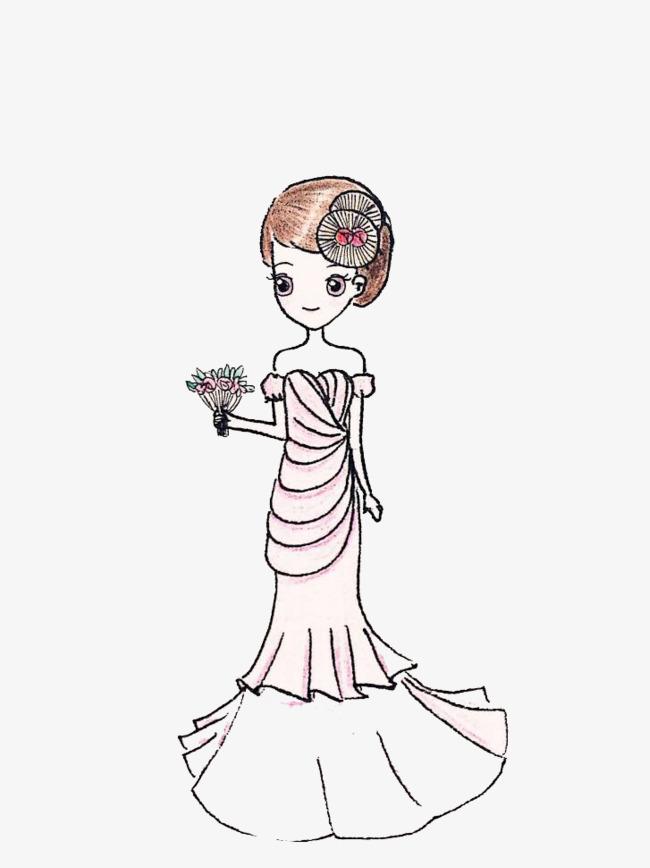 手绘婚纱粉红主题