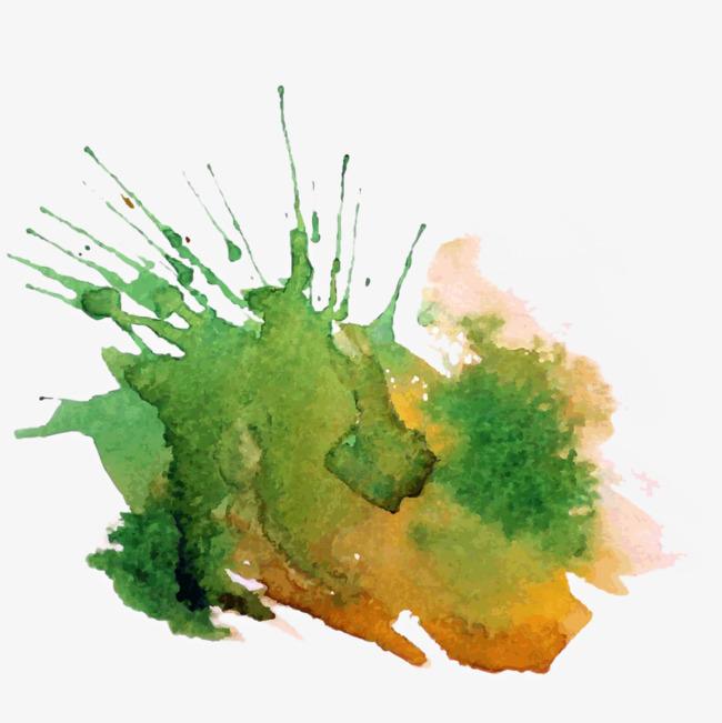 绿色水彩泼墨中国风背景pngpng素材-90设计