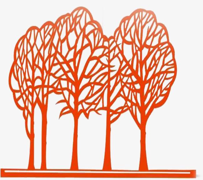 红色剪纸树=>鼠标右键点击图片另存为