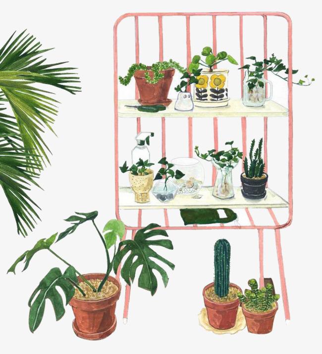 卡通 手绘 水彩 植物             此素材是90设计网官方设计出品,均