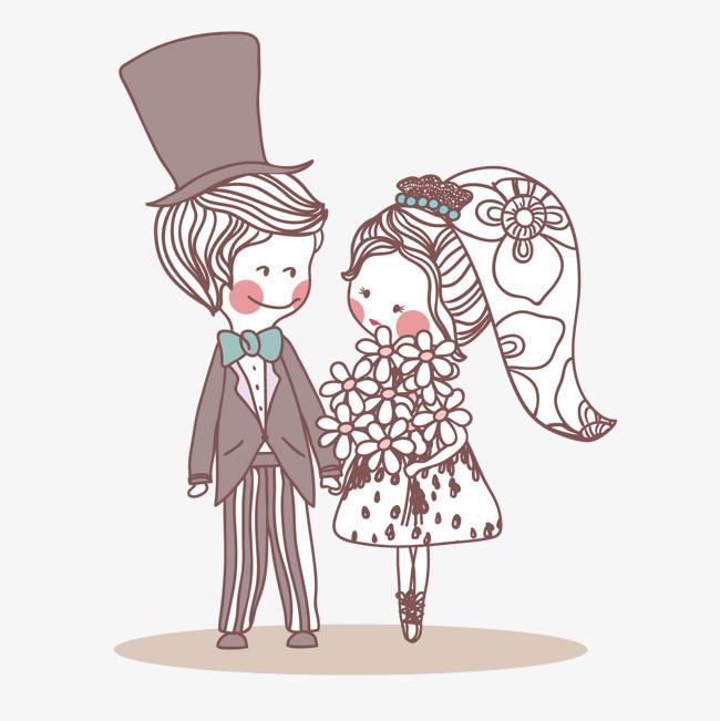 男女结婚手绘素材