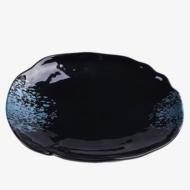 黑色蓝点点简约家用陶瓷盘子png素材-90设计