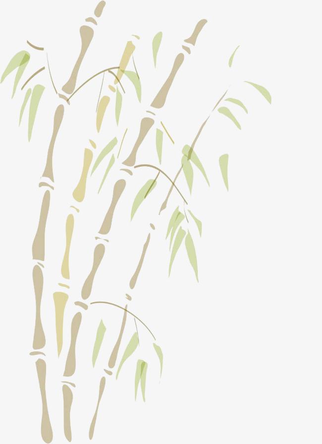 手绘彩色竹子